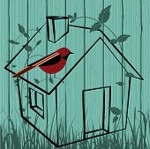 picture of bird-nest  - Bird house  in field  - JPG