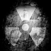 pic of radium  - sign of radiation on the grunge wall - JPG