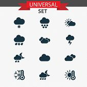 Climate Icons Set With Sunshine, Clouds, Overcast And Other Lightning Elements. Isolated Vector Illu poster