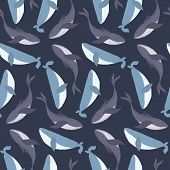Dark Blue Marine Seamless Pattern With Cute Hand Drawn Whales On Sea Background. Childish Texture Wi poster