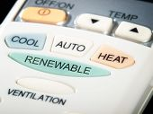 stock photo of air conditioner  - Renewable button as an option on the air conditioner remote control - JPG