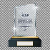 Glass Trophy Plaque Award. Glossy Transparent Prize. Vector Illustration. poster
