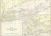 Vintage 1891 Map Of Long Island; Out Of Copyright