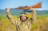 Bearded Hunter Rifle Nature Background. Harvest Animals Typically Restricted. Hunting Hobby Concept. poster