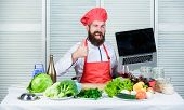 Chef Laptop At Kitchen. Culinary School. Hipster In Hat And Apron Buy Products Online. Shopping Onli poster