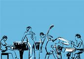 Jazz Band. Singer, Pianist, Drummer, Contrabass And Saxophone Player. Musical Group Illustration. Bl poster