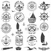 Set Of Sailing Camp And Yacht Club Badge. Vector. Concept For Shirt, Print, Stamp Or Tee. Vintage Ty poster