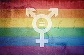 No Discrimination Lgbt Flag And Transgender Symbol With Equal Sign Inside Painted Over A Cracked Con poster