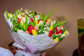 Bouquet Of Tulips. Bouquet Of Colored Flowers Tulips. Gift Bouquet. A Bouquet Of Flowers poster