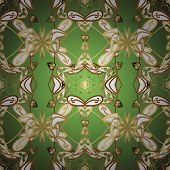 Beautiful Pattern For Textile, Scrapbooking. Patterns On White, Green And Brown Colors. Seamless In  poster