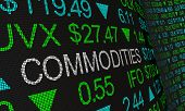 Commodities Economic Goods Assets Stock Market Prices 3d Illustration poster