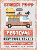 Food Street Festival. Kitchen In Car Mobile Van Outdoor Fast Catering Delivery Vector Vintage Poster poster