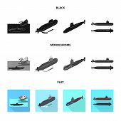 Vector Illustration Of War  And Ship Logo. Collection Of War  And Fleet Stock Symbol For Web. poster