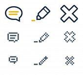 Comment, edit and delete icons. Icons are aligned to pixel grid. This means that the images are prep