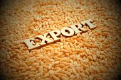 Grain Export. Wooden Letters On The Background Of Wheat Grains. Vignetting, Toning. High Yield. Exte poster