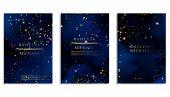 Magic Night Dark Blue Sky With Sparkling Stars Vector Wedding Invitation. Andromeda Galaxy. Gold Gli poster