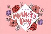 Happy Mothers Day Elegant Typography Pink Banner. Calligraphy Text And Heart In Frame On Red Backgro poster