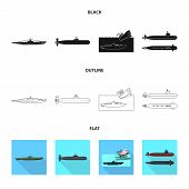 Isolated Object Of War  And Ship Logo. Set Of War  And Fleet Stock Symbol For Web. poster