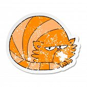 distressed sticker of a cartoon grumpy cat poster