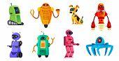 Cartoon Robots. Robotics Bots, Robot Pet And Robotic Android Bot Characters Technology Vector Illust poster