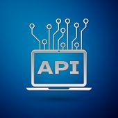 Silver Computer Api Interface Icon Isolated On Blue Background. Application Programming Interface Ap poster