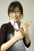 stock photo of japanese woman  - thumb up Asian women educational  - JPG
