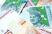 stock photo of ringgit  - close Malaysian bank note Ringgit Malaysia 10 and 50 - JPG