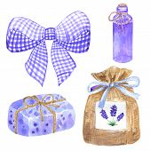 Elements For Provence Design. Violet Bow, Sachet, Wrapped Soap, Oil Bottle. Hand Drawn Watercolor Il poster