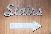 Silver Metal Letters, Pointer Of Stairs Sign On The Wall Hotel, Lobby. Concept Sign, Cursor, Inscrip poster