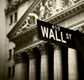 stock photo of nyse  - Wall Street sign in lower Manhattan New York - JPG