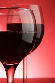 stock photo of red wine  - Two glasses of wine close - JPG