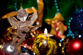 foto of christmas angel  - Angel with Christmas decoration and ornaments for a Christmas tree - JPG