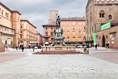 Fountain Of Neptune On Piazza Del Nettunoin Bologna