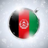 Постер, плакат: С Рождеством Серебряный мяч с флаг Афганистана