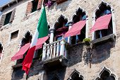 Italian Flag On A Balcony, Venice