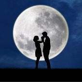 Guy Kiss Girl Hand On Blue Full Moon Background