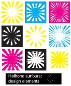 Sunburst Halftone Design Elements