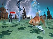 stock photo of hallucinations  - Surreal scene with various eelements - JPG