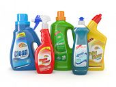stock photo of sanitation  - Plastic detergent bottles on white background - JPG