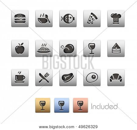Food Icons - Set 1 // Metallic Series - It includes 4 color versions for each icon in different laye