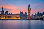 image of london night  - Big Ben and Houses of parliament at dusk - JPG