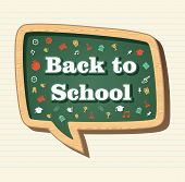 stock photo of bubble sheet  - Back to School education icons in social media speech bubble over paper sheet background - JPG