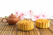 Traditional mooncakes with teapot. Chinese mid autumn festival foods. The Chinese words on the moonc