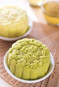 Snowy skin mooncakes.  Traditional Chinese mid autumn festival food. The Chinese words on the moonca