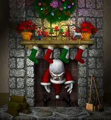 Stuck Santa in the Fireplace