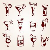 stock photo of cocktail menu  - Cocktails icons - JPG
