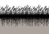 Editable vector silhouette of a grassy meadow with underground roots