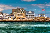 stock photo of inlet  - Beach houses along the inlet in Point Pleasant Beach New Jersey - JPG