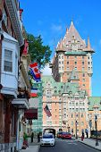 QUEBEC CITY, CANADA - SEP 10: Street view with Chateau Frontenac in the day on September 10, 2012 in