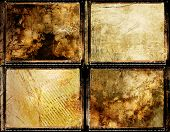 set of grungy framed backgrounds